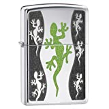 Zippo Black Green Lizard Lighter - High Polished Chromeby Zippo