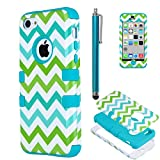 iPhone 5c case, iPhone 5C case Cute, ULAK Fashion Chevron Pattern Hybrid High Impact Combo Hard PC and Soft Silicone Case for iPhone 5C Heavy Duty Shockproof Chevron Pattern w/ Stylus Screen Protector(Green/Blue Wave+Light blue)