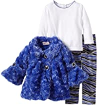 Little Lass Baby-girls Infant 3 Piece Curly Faux Fur Jacket Set, Blue, 18 Months
