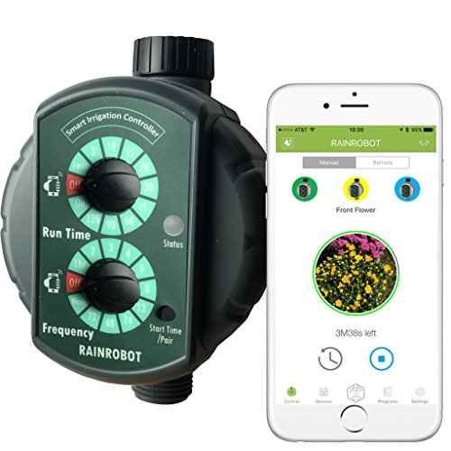 RainRobot SC6400 Smart Irrigation Controller/Smart Hose Timer, Instant One-Touch Control from Indoors with Smartphone (iPhone/Android), Reliable Long Range Control, Multi-Zone Support, Water Saver (1 Water Hose compare prices)