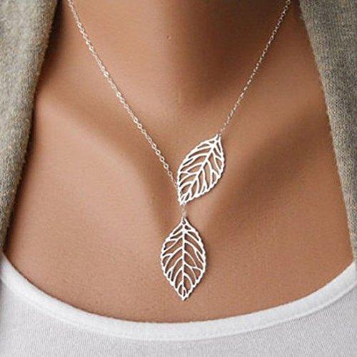 Susenstone(TM) Womens Girls Simple Metal Double Leaf Pendant Shiny Alloy Short Choker Necklace (Silver Color)