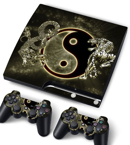 Bundle Monster Vinyl Skin Sticker For PlayStation PS3 S SLIM Game Console - Cover Protector Art Decal - Dragon Ying Yang