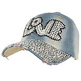 Bubble Love Jewel Rhinestone Bling Studs Baseball Ball Cap Hat Adjustable Denim