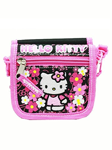String Wallet - Hello Kitty - Flowers Black