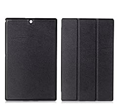 SPL Premium Quality PU Leather trifold Book Stand Cover for Sony Xperia Z3 Compact Tablet 8-inch -Black