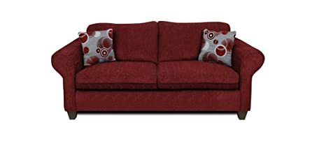 Chelsea Home Furniture Libby Sofa, Upholstered in Tahoe Burgundy/Celeste Ruby