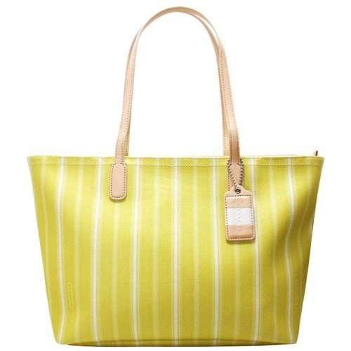 Coach Legacy Weekend Ticking Stripe Medium Pvc Zippered Tote Carryall Bag 23108 Yellow front-417460