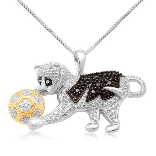 10k White Gold Black and White Diamond Playing Cat Pendant (1/4 cttw, I-J Color, I2-I3 Clarity), 18