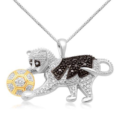 10k White Gold Black and White Diamond Playing Cat Pendant (1/4 cttw, I-J Color, I2-I3 Clarity), 18