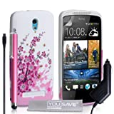 Yousave Accessories Floral Bee Silicone Gel Cover with Stylus Pen and Car Charger for HTC Desire 500