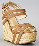 Soda Catal-S Open Toe Strappy Platform Wedge TAN