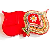 Elegant Handmade Pan Shape Kumkum Box, Decorated With Classic Kundan Work, And Multi-color Stones Made On Acrylic