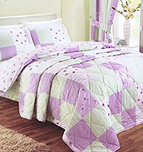 Patchwork Lilac Green Single Bed Size Printed Bedspread