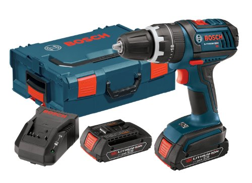 Bosch HDS181-02L 18-volt Lithium-Ion 1/2-Inch Hammer Drill/Driver Kit with 2 High Capacity Batteries, Charger and L-BOXX-2