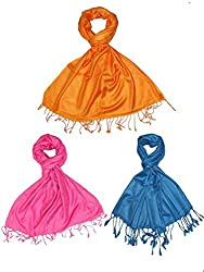 Craftshub Casual Soft Luxurious Solid Viscose Pashmina Orange Pink Blue Stole Combo of 3
