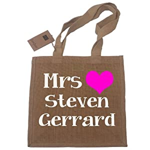 Mrs Steven Gerrard Jute Shopping Bag Ladies Novelty Gift