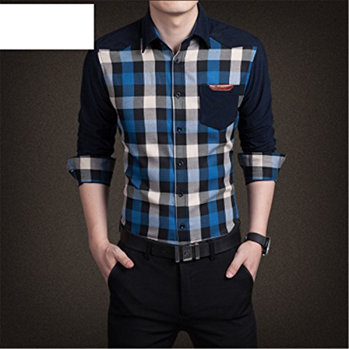 Vazpue Shirts 2016 Spring autumn New Plaid Fashion Dress Men Shirt Slim Fit Long Sleeve Plus Size 3XL Male Social Casual Shirts Camisa (Morph Suit Sizing)