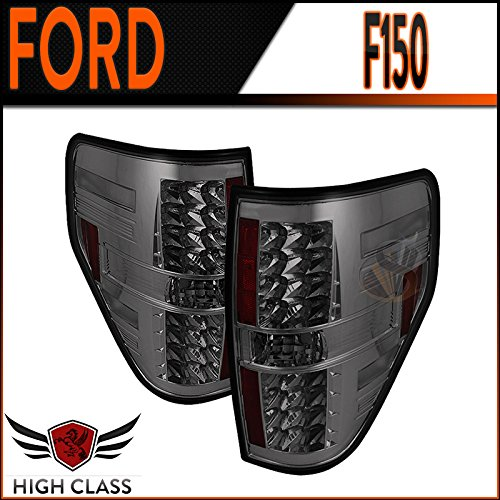 2009-2014 Ford F150 Smoke Led Tail Lights Rear Brake Lamps Pair New
