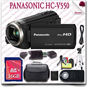 "Panasonic HC-V550 Full HD Camcorder + Wireless Remote + 16GB SDHC Class 10 Card + 57"" Tripod + HDMI Cable + SLR Gadget Bag 11pc Panasonic Saver Bundle"