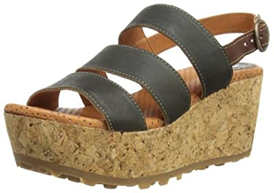 Fly London Mest, Women's Wedge Sandals, Anthracite/Tan, 5 UK