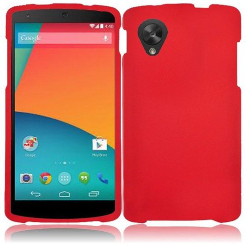 Cell Accessories For Less (Tm) For Google Nexus 5 Rubberized Cover Case - Red - By Thetargetbuys *Free Shipping*