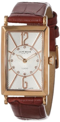 Akribos XXIV Women's AK543BR Essential Rectangular Stainless Steel Diamond Strap Watch