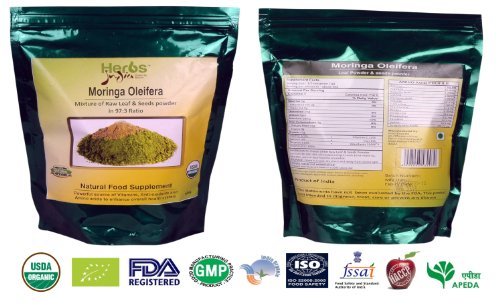 Herbs India - Mixture Of Moringa Freeze Dried Leaf (Oleifera Leaves) & Seed Powder(97:3), 16 Ounce (1 Lb) - Usda Organic (Purest Powder In Amazon). Available In Various Flavor And Size.