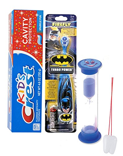 Batman Super Hero 3pc Bright Smile Oral Hygiene Set! Batman Turbo Spin Toothbrush, Crest Kids Toothpaste & 2 Minute Brushing Timer! Plus Bonus 'Remember To Brush
