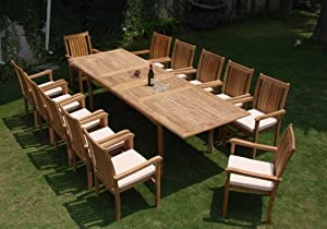 "Grade-A Teak Wood Luxurious Dining Set Collections : 13 pc - Large 117"" Double Extension Rectangle Table And 12 Cahyo Stacking Arm Chairs #TSDSCHb from TeakStation"