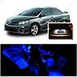 Ameritree Blue LED Lights Interior Package + White LED License Plate Kit for Toyota Corolla 2003-2013 (6 Pieces)