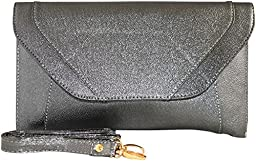 Patzino Fashion Collection, Faux Leather Women\'s Envelope Clutch/ Purse (Classic Silver)