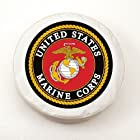 United States Marines Military White Spare Tire Cover Size: I - 28 x 8 Inch