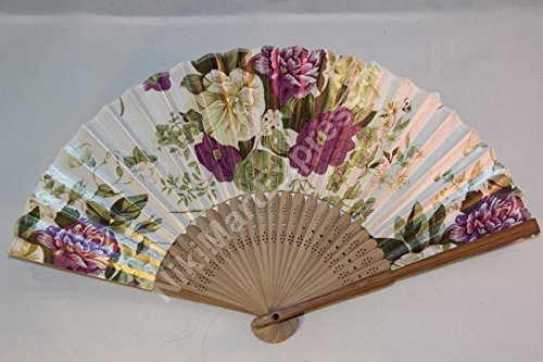 Oriental Lady Brown Bamboo & Silk Hand Folding Fan, Wall Art, Decoration (white)