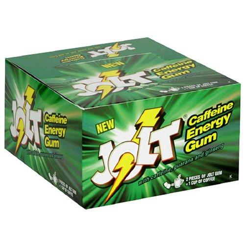 Jolt Caffeine Energy Gum, Spearmint, 12-Count Boxes (Pack of 2)