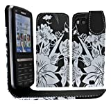 Gr8value Nokia C3-01 PU LEATHER MAGNETIC CASE SKIN COVER WALLET POUCH + FREE STYLUS (Big White Flower Black flip case)