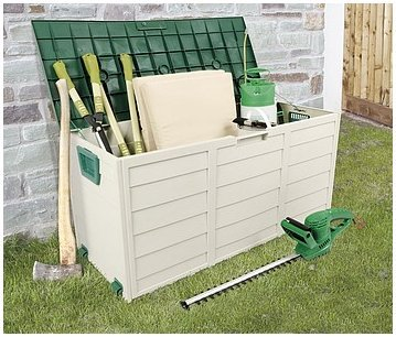 Lockable Green Outdoor Garden Storage Box is Made from weatherproof polypropylene, this durable garden chest provides an instant solution to your outdoor storage.
