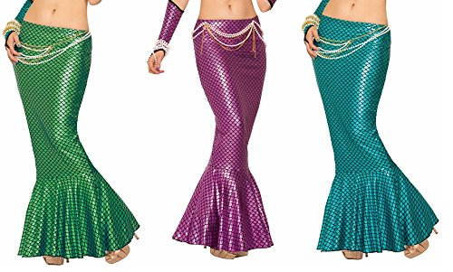 Mermaid Long Tail Skirt Metallic Ariel Sexy Fish Tail Adult Womens Costume Sea