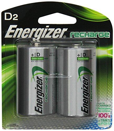 Energizer Rechargeable Batteries, D, 2-Count