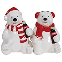Coke Polar Bear Ceramic Salt & Pepper Shakers - Coca-Cola Holiday Tradition