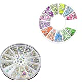 Born Pretty 2boxes/Set Rhinestone Round Stud Acrylic Uv Gel Nail Art Decoration In Wheel