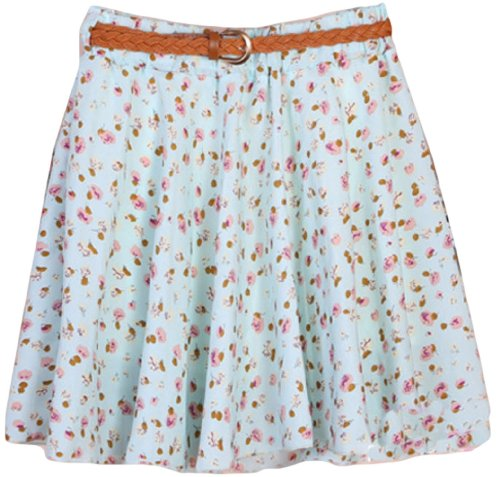 Psezy Women Casual Floral Print Chiffon Preppy Style Mini Skirts With Belt Styel 2 front-1014246