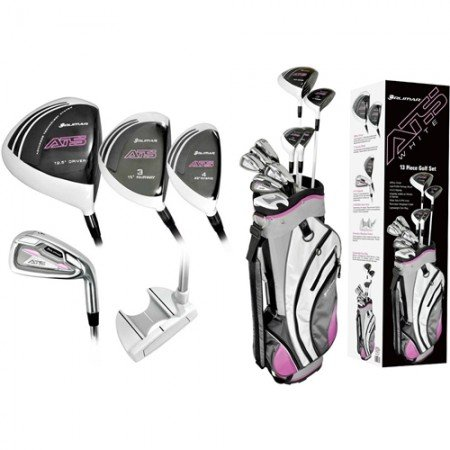 """Orlimar Ladies Ats """"Touch Of Pink' Right Hand Golf Club Set W/Ladies Cart Bag + Driver + 3 Wd +4 & 5 Hybrids + 6-Pw + Free Putter; Petite, Regular Or Tall Length; Fast Shipping"""