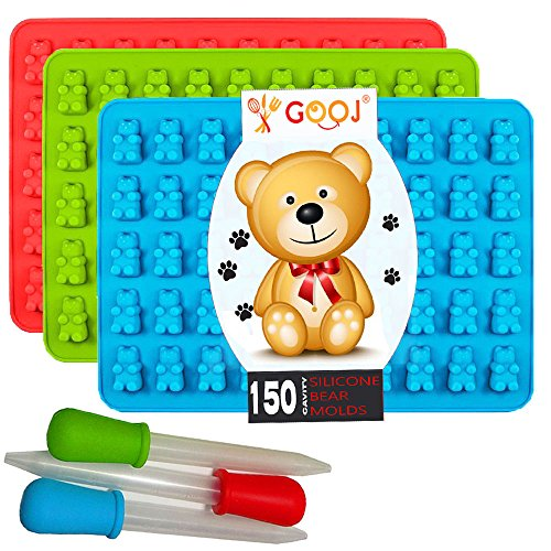 Gooj-Gummy Bear Molds- 3 Silicone Molds 150 gummy bears total 3 BONUS Droppers, e-Book PDF Download.- BPA Free (Gummy Bear Birthday compare prices)