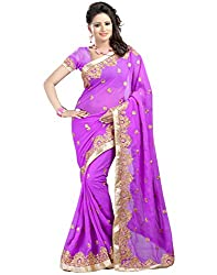 Rudra Fab Emboidered Fashion Georgette Saree (Purple)
