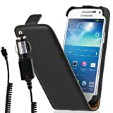 Wicked Chili Mobile Phone Case for Samsung Galaxy S4 Mini i9190 / i9195 Leather Flip-Style with In-Car Charging Cable Black