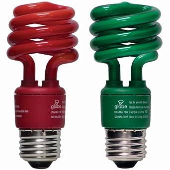 Globe 13-Watt Ultra-Mini Compact Fluorescent Spiral Bulb (60-Watt Incandescent Equivalent), Red and Green, 2 Pack #2340001