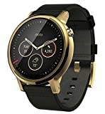 Motorola Moto 360 2nd Gen Smartwatch for Most Apple iOS and Android Cell Phones (Men's, 46mm, Gold w/Black Leather Band)
