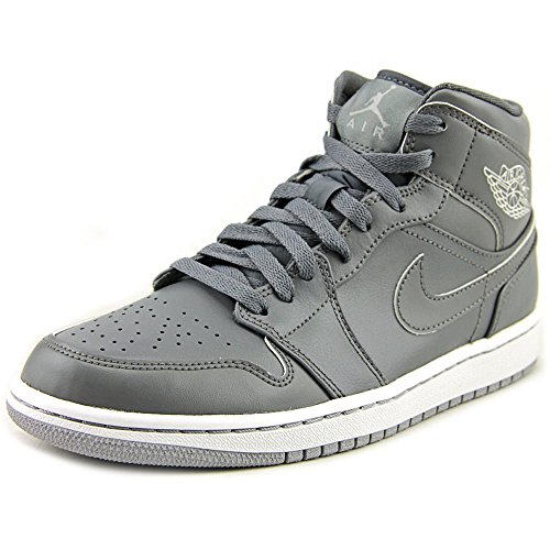 Nike Jordan Men's Air Jordan 1 Mid Cool Grey/Cl Gry/White/Wlf Gry Basketball Shoe 11 Men US