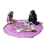 [Toshibuya] おもちゃ 収納 マット 便利グッズ お出かけに便利 大容量 ブルー ピンク (ピンク)