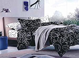 QzzieLife Microfiber Polyester 4pc Bedding Duvet Cover Sets Hand-painted Leaves Print Black Size Queen